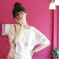 Spring Lace Shoulder and Back Loose Cotton Mid Sleeve Top