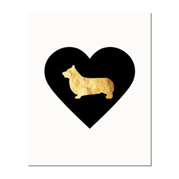 Corgi Love Dog Print Heart Black Gold Shabby Chic by paperchat
