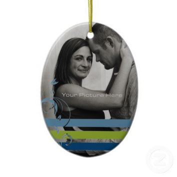 Teal and Blue Photo Engagement Christmas Tree Ornaments from Zazzle.com