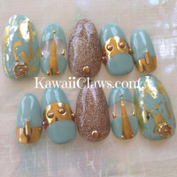 Mint & gold art deco style foiled nail art with glitter and studs 3D press on nails