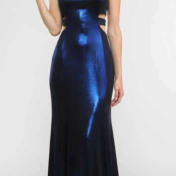 CLEARANCE - Royal Blue Metallic Foil Sleeveless Long Formal Dress Side Cut-Outs (Size XL)