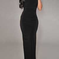 Black Floor-Length Scoop Neck Backless Dress