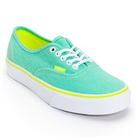 Vans Authentic Aqua Green & Yellow Washed Twill Shoes