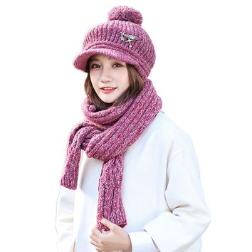 A Set Of Men Women Winter Hats Scarves Gloves Cotton Knitted Hat Scarf Set For girl Female Winter Accessories 2 Pieces Hat Scarf