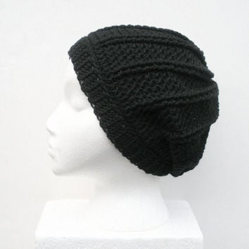 Black Textured Crochet Slouch Hat, Unisex,  ready to ship.