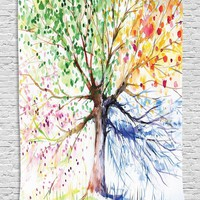 Watercolor Four Season Tree Twin Bedspread Wall Tapestry