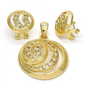 Gold Layered 10.160.0052 Earring and Pendant Adult Set, Greek Key Design, with White Crystal, Polished Finish, Gold Tone