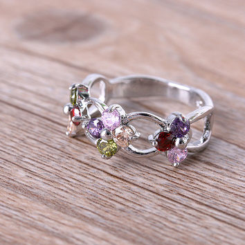 1PC Woman Silver Natural Rhinestone Crystal Tanzanite Ruby Topaz Peridot Ring Jewelry  for Party Wedding Casual