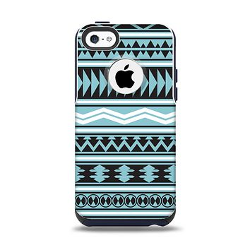 The Vector Blue & Black Aztec Pattern V2 Apple iPhone 5c Otterbox Commuter Case Skin Set