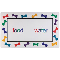 Dog Food and Water with Bones Feeding Floor Mat