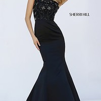 Cap Sleeve Mermaid Dress with Beaded Bodice by Sherri Hill