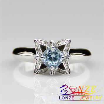Aquamarine LOTUS Ring 925 Sterling Silver Aquamarine Wedding Engagement Rings Plate 18k Gold Blue Natural Gem Stone Wedding Ring