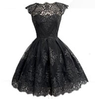 New Women's Lady Summer Sexy Short Sleeve Lace Mini Dress Formal Evening Party Ball Gown Dress Black White Beige SN108