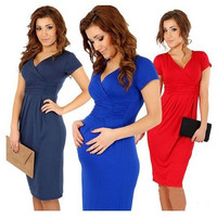 women summer dresses V-neck elastic fold pure color pregnant casual dresses clothing for pregnant, Maternity = 1932125060