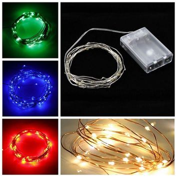 2M/3M/4M/5M/10M 20/30/40/50/100 LED Copper Wire String Fairy Light AA Battery Holiday Party Wedding Christmas DIY Decoration
