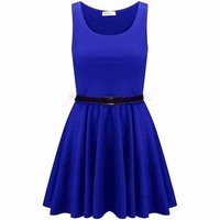 Womens Ladies Sleeveless Belted Flared Short Mini Frankie Pleated Skater Dress (L/XL (UK 12-14 US 8-10), Royal)