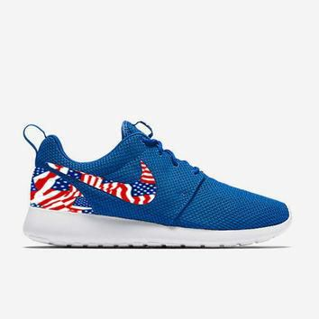 Custom Blue American Flags Nike Roshe Run Shoes Fabric Pattern Men's Birthday Present,