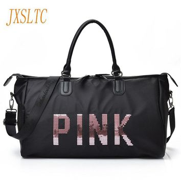 JXSLTC 2017 Ladies Black Travel Bag Pink Sequins Shoulder Bag Women Handbag Ladies Weekend Portable duffel Bag Waterproof  wash