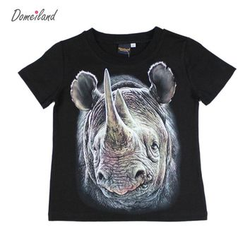 2017 Fashion domeiland Children's clothes kids 3d t shirt of animals baby boy Cotton short cool Sleeve t-shirts for size 8-12