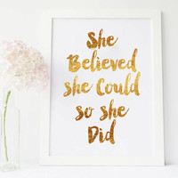 She Believed She Could So She Did Chic Golden Wall Art Gold Art Print Decor Funky, Great Gift Card