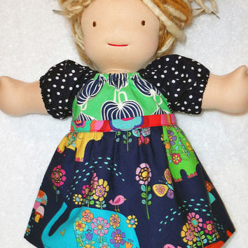 Doll dress for 15 inch Waldorf doll 18 inch American Girl doll Bitty Twin Bitty Baby elephant navy green made to match Matilda Jane Leslie