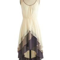 ModCloth Mid-length Spaghetti Straps High-Low Hem Cheers for Tiers Dress