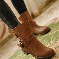 Ladies Autumn Winter Fashion Knight Belt Buckle Women Short Boots Cool