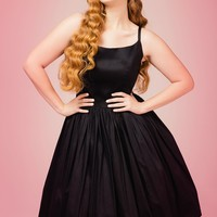 Pinup Couture Plus Size Jenny Dress in Black Sateen