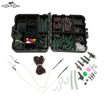 155pcs Fishing Accessories Carp Fishing Clip Hooks Hair Rig Tubes Swivels Beads Sleeves In Fishing Tackle Box Fishing Gear Pesca