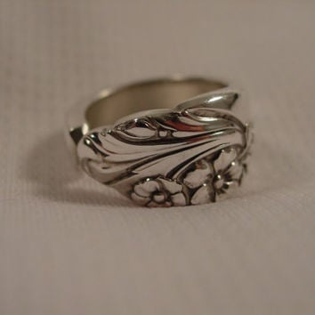 A Spoon Rings Plus Beautiful Spoon Ring Size 7 1/4 Handmade Antique Spoon Jewelry t220