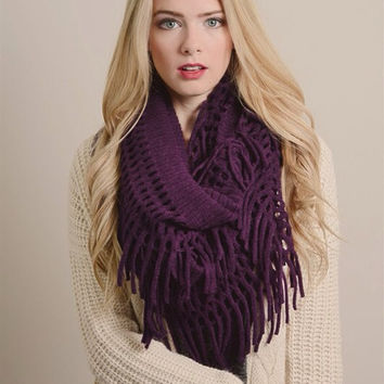 Soft Chenille Fringe Infinity Scarf---NEW COLORS ADDED!!