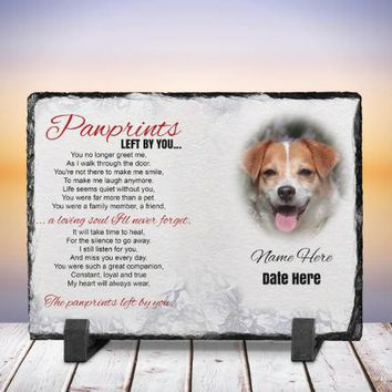 Pet Memorial Slate - Custom Pet Memorial - Rock Picture - Pet Stone Memorial- Paw Prints Poem Memorial Picture - Pet Picture - Custom Slate
