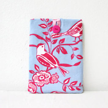 IPad Mini cover, Blue and pink fabric, 8 inch tablet case, fabric tablet sleeve, padded tablet cover, IPad mini case, handmade in the UK