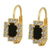 Yellow Gold- Filled Clear and Black CZ French Lock Rectangle Earrings