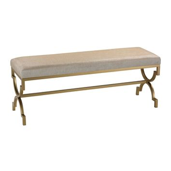 Gold Cane Double Bench in Muted Gold and Cream Metallic Linen