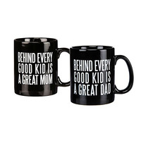 Great Mom & Dad Jumbo Coffee Mug Gift Set - Behind Every Good Kid Is A Great Dad, Great Mom - Black Coffee Tea Mug - 2 Pack