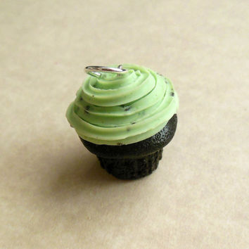 Polymer Clay Mint Chocolate Chip Cupcake Charm. Key Chain, Food Jewelry