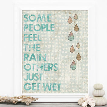 Digital Art Print Feel the Rain -Pale White and Blue Inspirational Poster