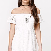 LA Hearts Off The Shoulder All Over Crochet Dress - Womens Dress - White
