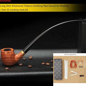 MUXIANG Churchwarden Long Stem Rosewood Smoking Pipe for Weed 3mm Metal Filter Wooden Tobacco Pipe Acrylic Mouthpiece ad0008