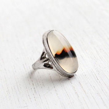 Vintage Sterling Silver Landscape Agate Ring - Mid Century Size 3 Brown & White Jewelry / Bezel Set Oval