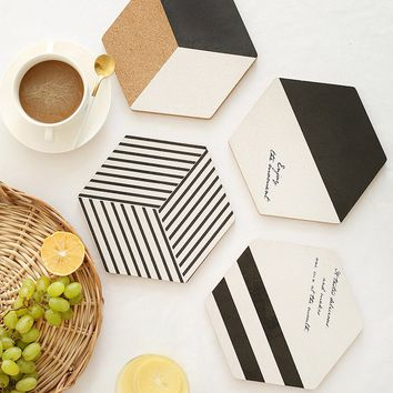 Modern Wooden Table Coasters Hexagon Painted Cup Mug Mat Drinks Pads Coffee Drink Placemat Tableware Shop Bar Home Decor