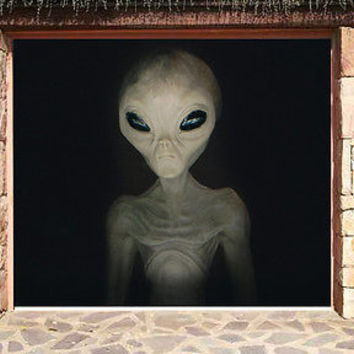 3D EFFECT GARAGE DOOR BILLBOARD STICKER COVER ALIEN HALLOWEEN 8,04 x 6,89 FEET