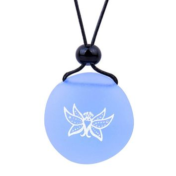 Amulet Frosted Sea Glass Stone Cute Magic Butterfly Good Luck Powers Sky Blue Adjustable Necklace