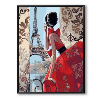 France girl Women  Tower Decor digital Painting picture By Numbers Handwork Drawing On Canvas Living Room Wall Art SZH-317