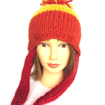 Cunning hat, Jayne Cobb style hat from firefly yellow and orange hat with red ear flaps pompom wool fun knit beanie novelty hat accessory