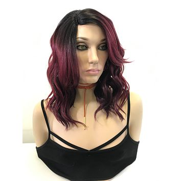 "Red Black Balayage Loose Curls Hair Lace Front Wig 8"" Royce"