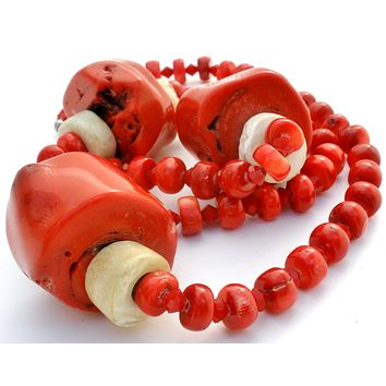 Massive Red Coral & Bone Bead Necklace 925
