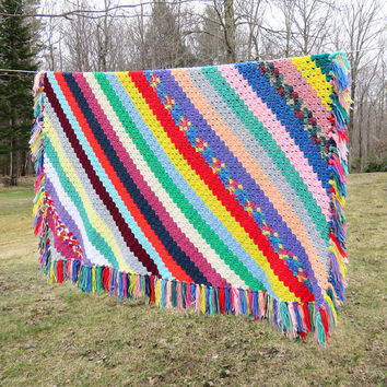 """Crochet afghan blanket throw in colorful diagonal stripes and fringes - Vintage multicolored striped afghan throw blanket 66"""" x 64"""""""