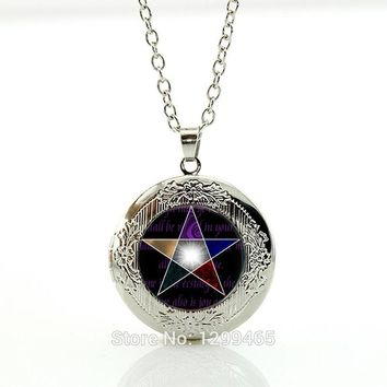 Charm Wiccan necklaces New Arrival Personality pentagram glass Pendant  charms Occult pendants locket pendant Jewelry N367